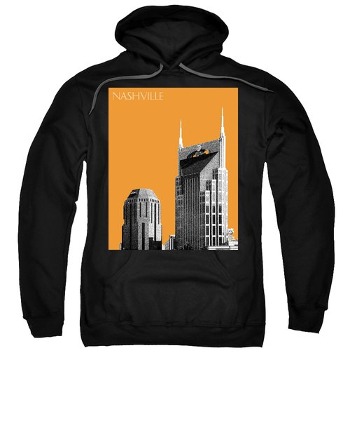 Nashville Skyline At And T Batman Building - Orange Sweatshirt by DB Artist