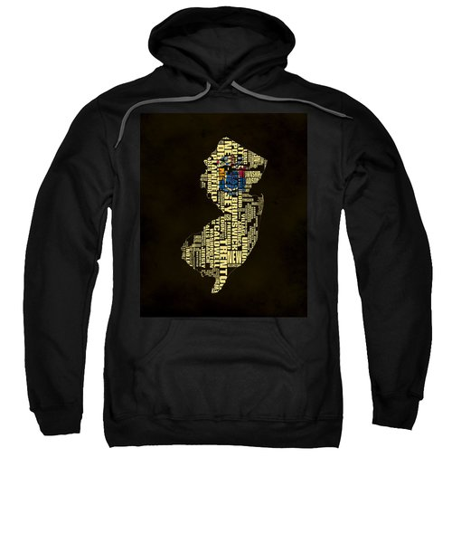 New Jersey Typographic Map 02 Sweatshirt