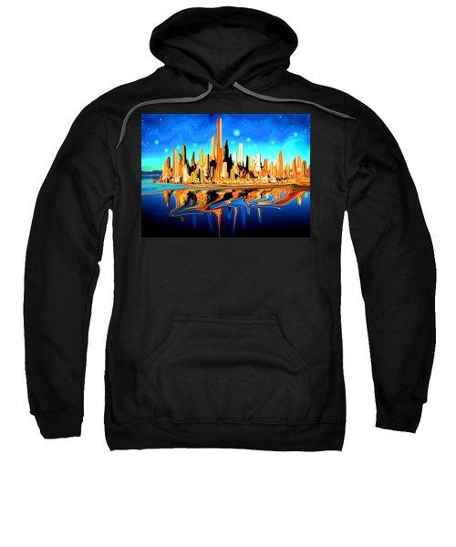 New York Skyline In Blue Orange - Modern Fantasy Art Sweatshirt