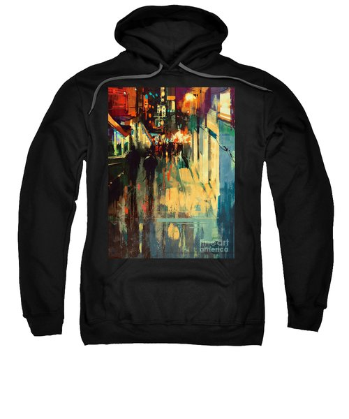 Sweatshirt featuring the painting Night Alleyway by Tithi Luadthong