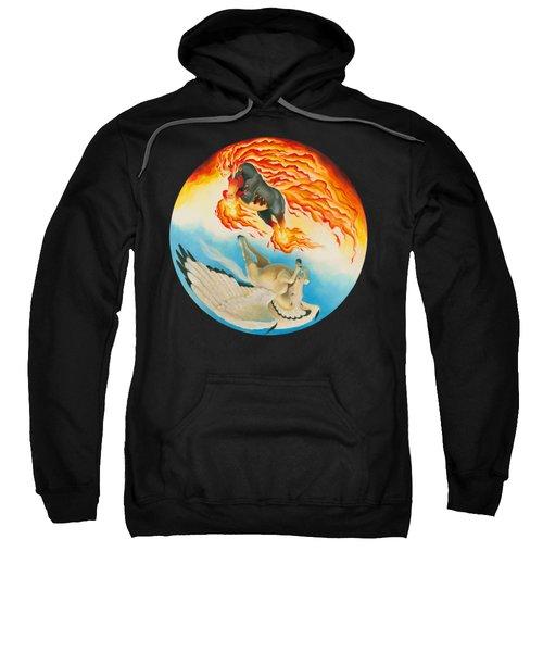 Nightmare And Mesa Pegasus Yin Yang Sweatshirt by Melissa A Benson