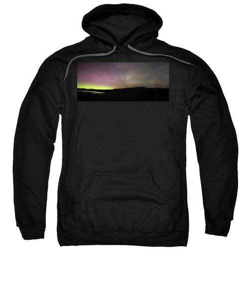 Northern Lights And Milky Way In Yellowstone Np Sweatshirt