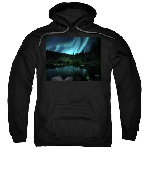 Northern Lights Over Lily Pond Sweatshirt