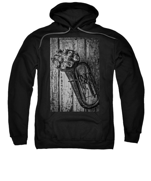 Old Horn And Roses On Door Black And White Sweatshirt