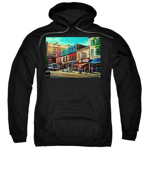 Old Montreal Schwartzs Deli Plateau Montreal City Scenes Sweatshirt