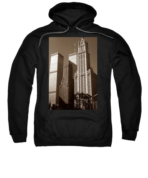 Old New York Photo - Woolworth Building And World Trade Center Sweatshirt