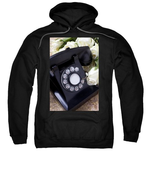 Old Phone And White Roses Sweatshirt