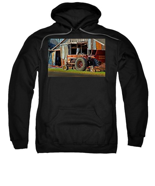 Old Red Tractor And The Barn Sweatshirt