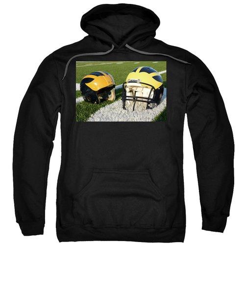 One Old, One New Wolverine Helmets On The Field Sweatshirt