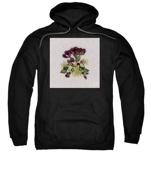 Oregano Florets And Leaves Pressed Flower Design Sweatshirt