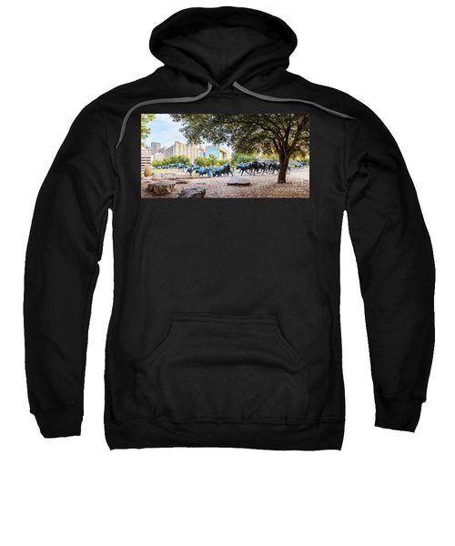 Panorama Of Cattle Drive At Pioneer Plaza In Downtown Dallas - North Texas Sweatshirt