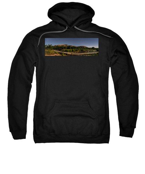 Panorama Of Enchanted Rock At Night - Starry Night Texas Hill Country Fredericksburg Llano Sweatshirt