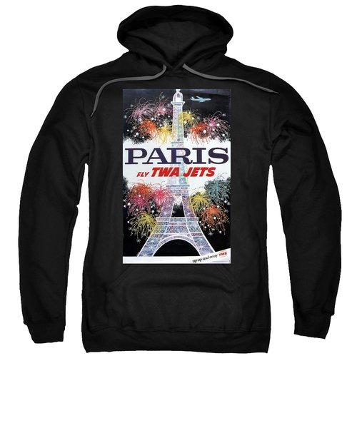 Paris - Twa Jets - Trans World Airlines - Eiffel Tower - Retro Travel Poster - Vintage Poster Sweatshirt