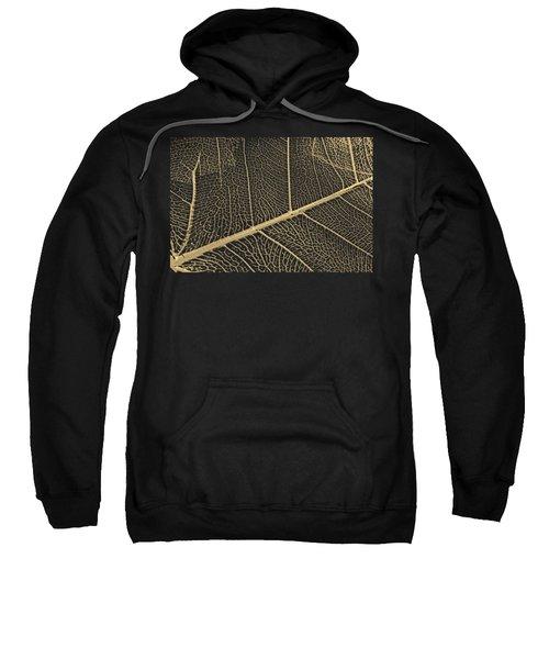 Patterns Of Nature - Leaf Veins In Gold On Black Canvas No. 3 Sweatshirt