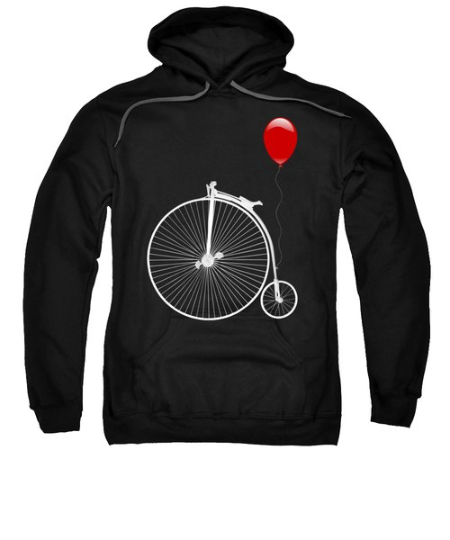 Penny Farthing With Red Balloon On Black Sweatshirt