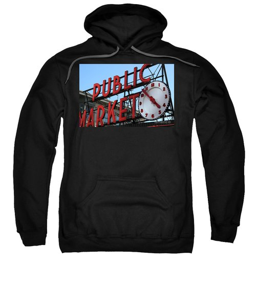 Sweatshirt featuring the photograph Pike Street Market Clock by Peter Simmons