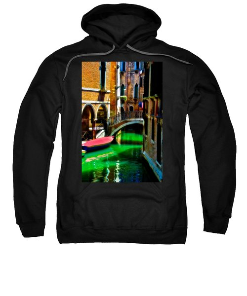 Pink Boat And Canal Sweatshirt