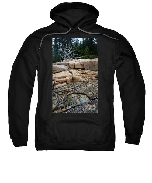 Pink Granite And Driftwood At Schoodic Peninsula In Maine  -4672 Sweatshirt
