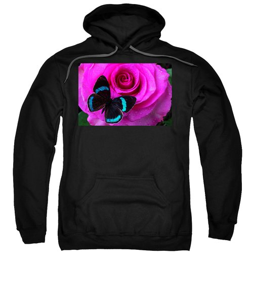 Pink Rose And Black Blue Butterfly Sweatshirt