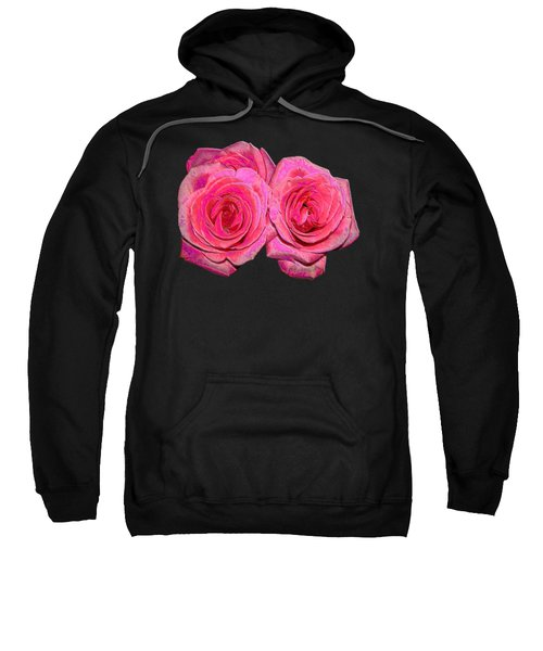Pink Roses With Enameled Effects Sweatshirt