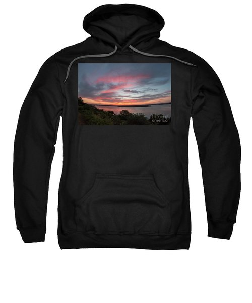 Pink Skies And Clouds At Sunset Over Lake Travis In Austin Texas Sweatshirt