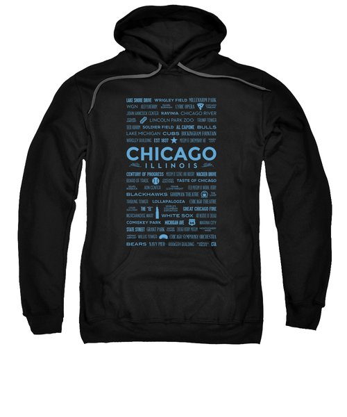 Places Of Chicago Blue On Black Sweatshirt by Christopher Arndt