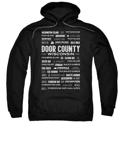 Sweatshirt featuring the digital art Places Of Door County On Black by Christopher Arndt