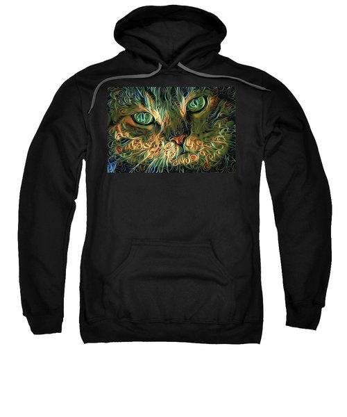 Psychedelic Tabby Cat Art Sweatshirt