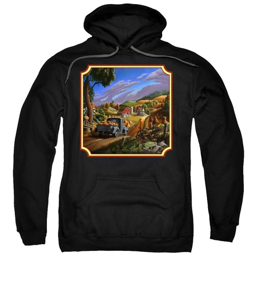 Pumpkins Farm Folk Art Fall Landscape - Square Format Sweatshirt by Walt Curlee