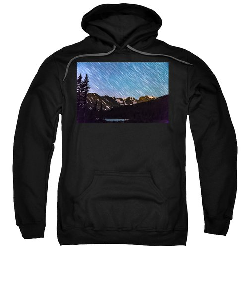 Raining Stars Over Longs Lake And The Indian Peaks Sweatshirt