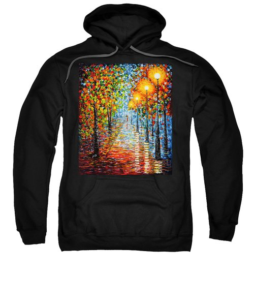 Sweatshirt featuring the painting Rainy Autumn Evening In The Park Acrylic Palette Knife Painting by Georgeta Blanaru