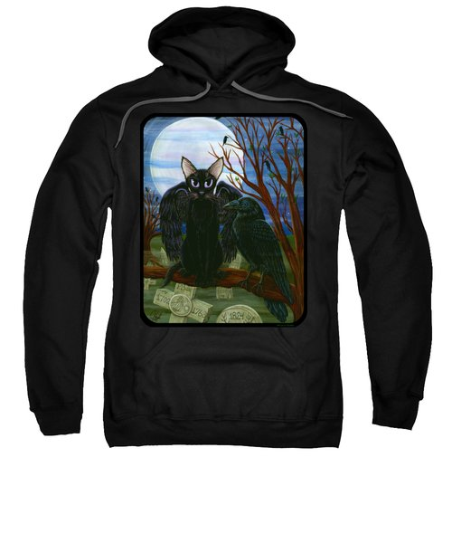 Raven's Moon Black Cat Crow Sweatshirt
