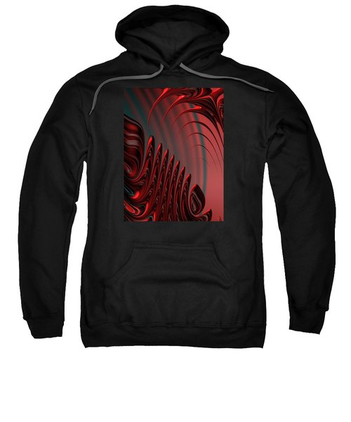 Red And Black Modern Fractal Design Sweatshirt
