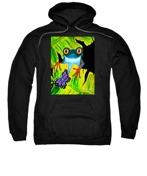 Red Eyed Tree Frog And Purple Butterfly Sweatshirt