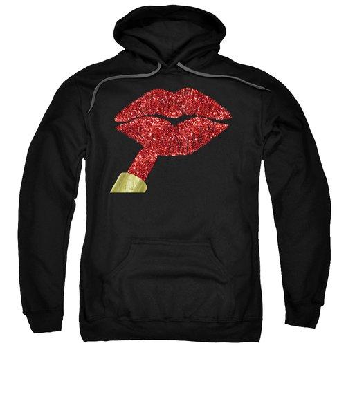 Red Kiss, Faux Glitter Lipstick On Pouty Lips, Fashion Art Sweatshirt
