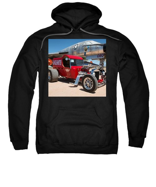 Red Hot Rod Next To Vintage Airplane  Sweatshirt