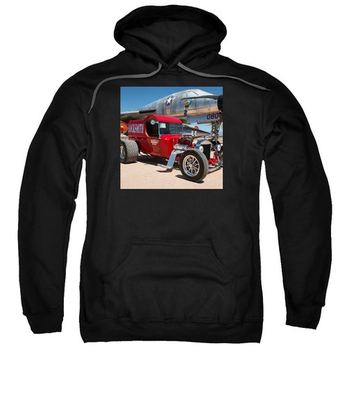Red Hot Rod Next To Vintage Airplane  Sweatshirt