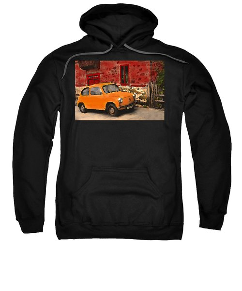 Red House With Orange Car Sweatshirt