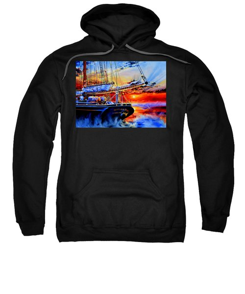 Sweatshirt featuring the painting Red Sky In The Morning by Hanne Lore Koehler