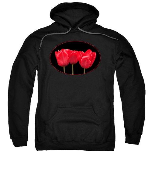 Red Tulip Triple On Black Sweatshirt
