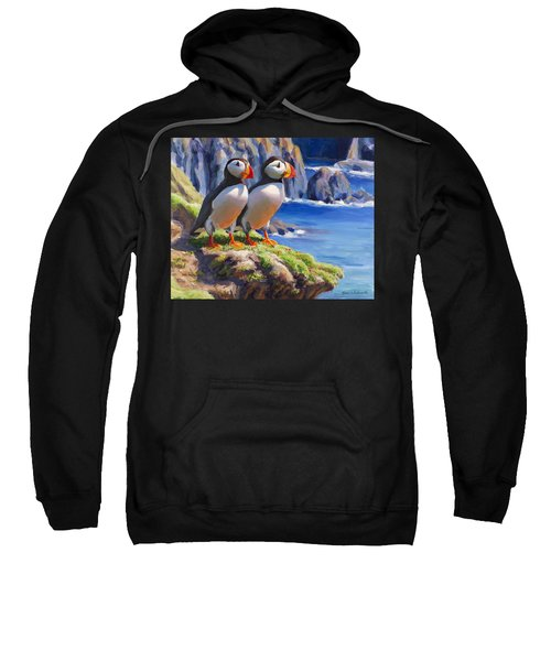 Horned Puffin Painting - Coastal Decor - Alaska Wall Art - Ocean Birds - Shorebirds Sweatshirt