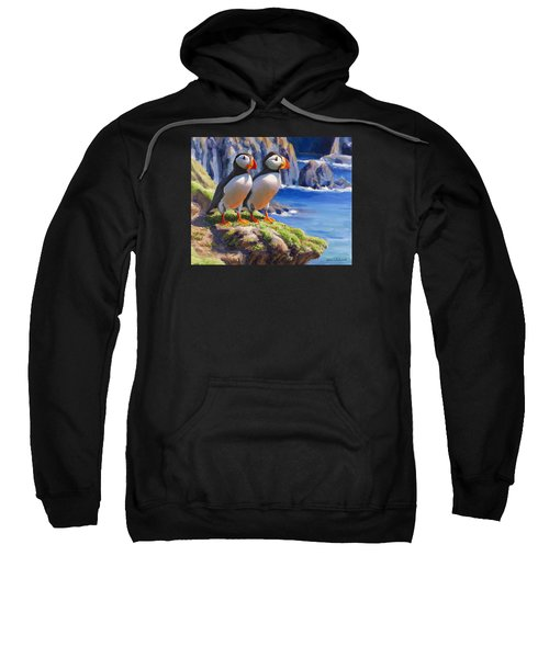 Reflecting - Horned Puffins - Coastal Alaska Landscape Sweatshirt