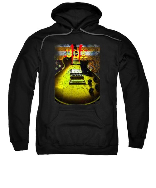 Sweatshirt featuring the photograph Relic Guitar Music Patriotic Usa Flag by Guitar Wacky