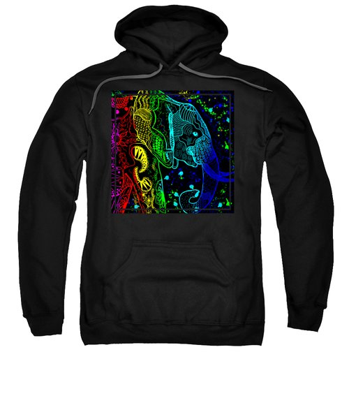 Rainbow Zentangle Elephant With Black Background Sweatshirt by Becky Herrera