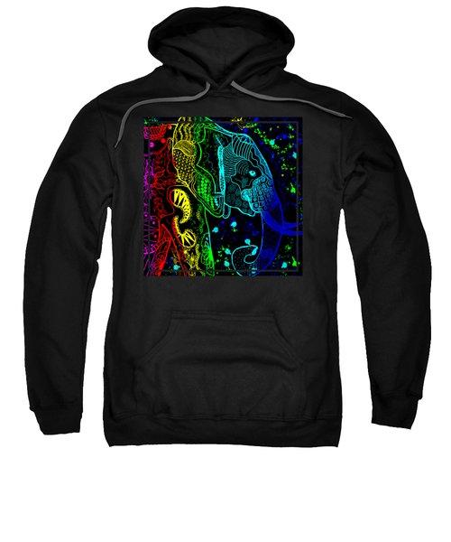 Rainbow Zentangle Elephant With Black Background Sweatshirt