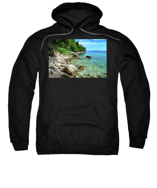 Rocky Beach On The Dalmatian Coast, Dalmatia, Croatia Sweatshirt