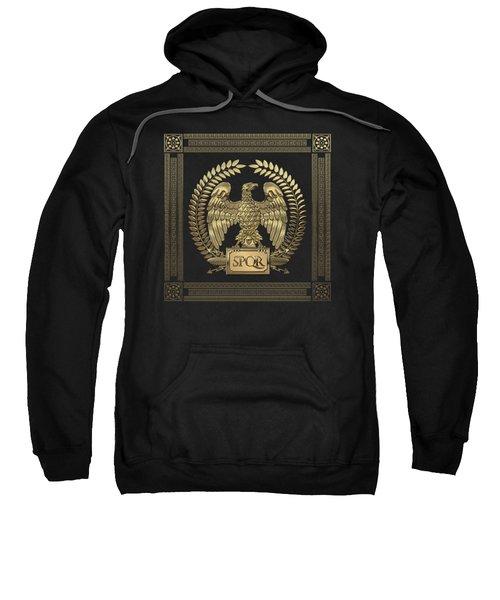 Roman Empire - Gold Imperial Eagle Over Black Velvet Sweatshirt