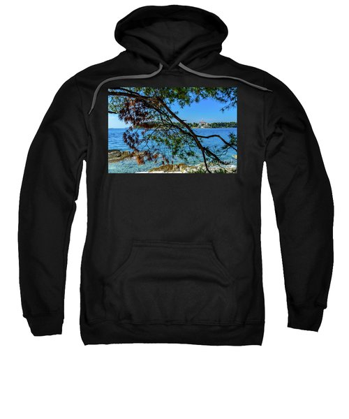 Rovinj Old Town Accross The Adriatic Through The Trees Sweatshirt