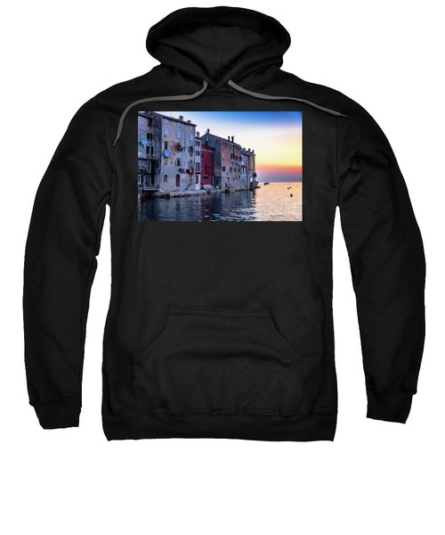 Rovinj Old Town On The Adriatic At Sunset Sweatshirt