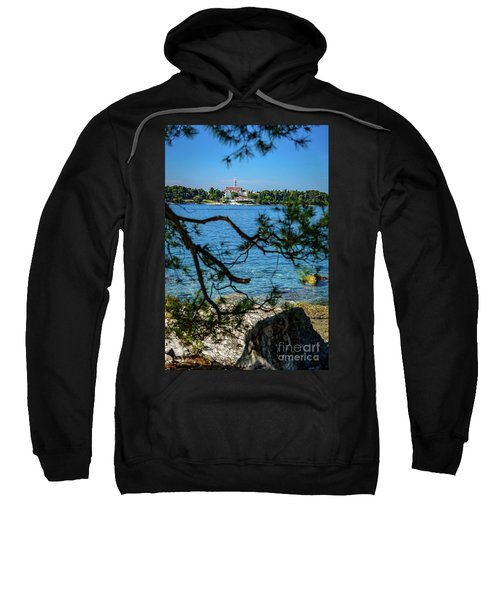 Rovinj Seaside Through The Adriatic Trees, Istria, Croatia Sweatshirt